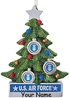 Kurt Adler Personalized United States Air Force Hanging Christmas Ornament Glittered Christmas Tree Decoration with Custom Name