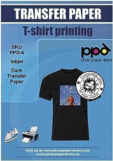 PPD 20 x A4 Papier Transfert Tee-Shirt / Textiles Noirs ou Foncés, Personnalisable, Thermocollant, Impression Jet d' Encre...