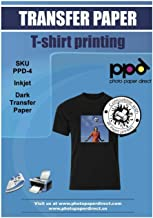 "PPD Inkjet Iron-On Dark T Shirt Transfers Paper LTR 8.5×11"" Pack of 10 Sheets (PPD004-10)"