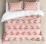 Ambesonne Dog Lover Duvet Cover Set, Little Corgi Jumping Running and Standing Cartoon Hearts Background, Decorative 3 Piece Bedding Set with 2 Pillow Shams, Queen Size, Orange White