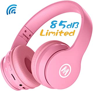 Mokata Volume Limited 85dB Kids Headphone Bluetooth Wireless Over Ear Foldable Stereo Sound Noise Protection Headset with AUX 3.5mm Cord Microphone for Boys Girls Cellphone Pad TV PC Notebook Pink