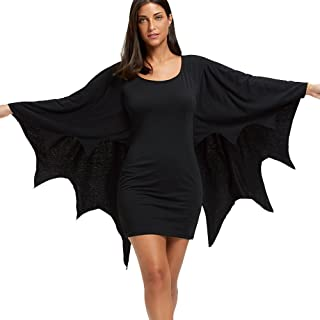 Halloween Long Sleeve Bodycon Dress with Bat Wings