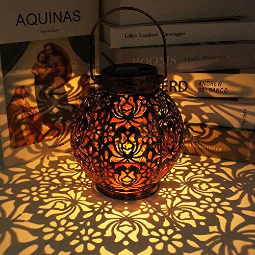Outdoor Hanging Solar Light, Metal Solar Light, Retro Solar Waterproof Table lamp, Solar Garden Light, Decorative LED Light, Fenced Patio with Handle Lighting (Brown)
