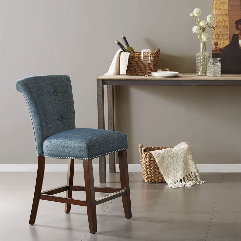 Amazon.com Madison Park Colfax Counter Stool, Blue  Home & Kitchen