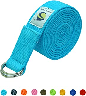 Marine Pearl 8 ft Anti Skid Yoga Strap Belt for Stretching Exercise with D-Ring Buckle/Durable Heavy Duty Cotton/Anti Sweat/Increases Flexibility