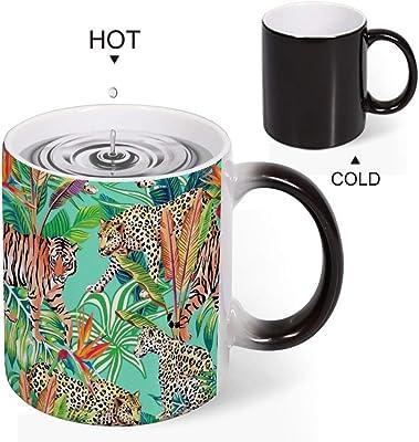 Discoloration Mug ヒョウと虎 変色マグコーヒーマグミルクカップホーム/オフィス/顧客カップルギフト330 ml耐久性のある耐熱水マグ
