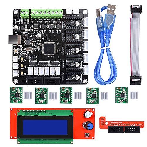 BIQU KFB3.0 3D Control Board +LCD 2004 Module Display Monitor Motherboard + A4988 Stepstick Stepper Motor Driver Module for Reparp Mendel Prusa I3 Kossel 3D Printer