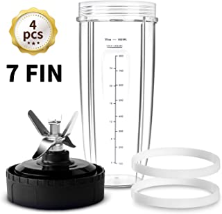 HOMENOTE Replacement Parts Compatible with Ninja Blender 7 FIN Blade & 32 oz Cup & 2 Gasket - 4 PCs Ninja Blender Parts & Accessories Compatible with Nutri Ninja Auto iQ Series