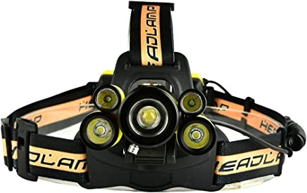 Studyset 5 LED Headlamp T6+2 x XPE Lamp Beads Strong Light with SOS Help-Calling Whistle USB Rechargeable