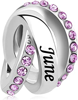 April Birthday Simulated Birthstone Charms for Snake Chain Bracelets