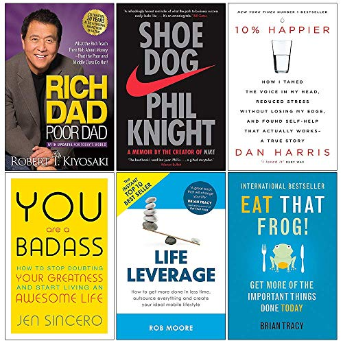 Price comparison product image Rich Dad Poor Dad,  Shoe Dog,  10% Happier,  You Are a Badass,  Life Leverage,  Eat That Frog 6 Books Collection Set