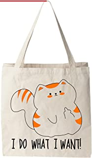 """I Do What I Want (Cat) - Natural Cotton Canvas Tote Bag 12 Oz (11""""X14""""X5"""") Reusable Ideal for Groceries, Shopping, School and Office Use"""