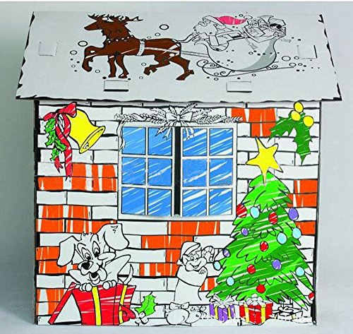 LITTLEFUN Kid's Foldable Cardboard Playhouse Kit Premium Paper Corrugated DIY Painting Imagination Training Toy Play House Child (Christmas Cottage)