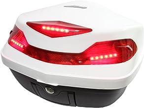 バイク用 48L 大容量 LEDストップランプ/テールランプ付き リアボックス/トップケース ベース付き ホワイト Gタイプ