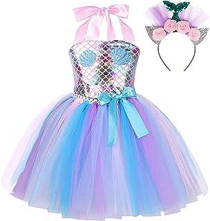 Sinmoocy Little Girls Princess Mermaid Costume Tutu Dress Birthday Party Cosplay Dress Up Fish Scale Ruffle Tulle Mermaid ...