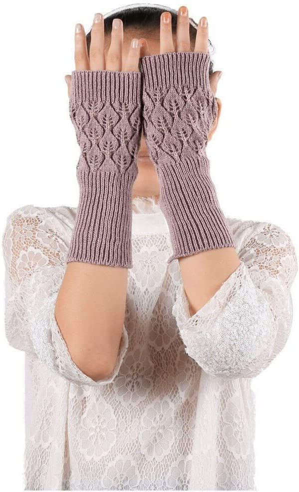 FASGION Women Autumn Winter Gloves Stretch Knit Mittens Hollow Out Leaves Knitted Gloves Sports Touch Screen Cycling Riding Mittens 2019 (Color : Purple, Gloves Size : One Size)