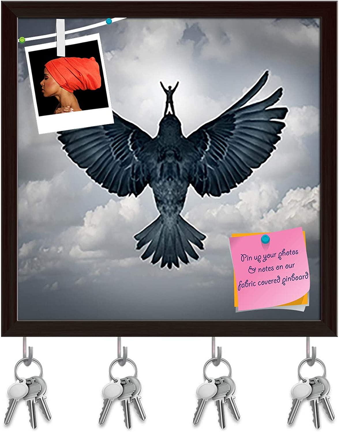 Artzfolio Man Riding an Open Wing Bird Key Holder Hooks   Notice Pin Board   Dark Brown Frame 20 X 20Inch