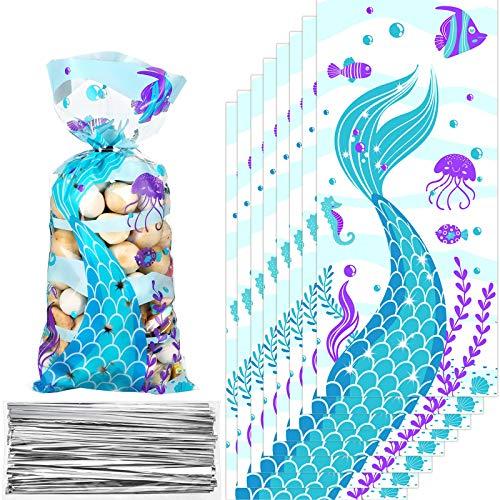 100 Piezas Bolsa de Dulces de Fiesta de Cumpleaños de Sirena de Plástico Bolsa de Celofán Transparente Bolsa de Caramelos Galletas Temática de Cola de Sirena con 100 Precintos Plateados