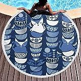 Baño Textiles de baño Toallas Toallas de playa Birthday Sloths Round Beach Towel Soft Microfiber...