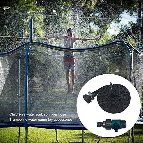 Trampolin-Wassersprinkler, Wasserspiel-Sprinkler im Freien, lustiges Sommer-Wasserspielspielzeug Sprinklerschlauch für Jungen Mädchen Erwachsene Wasserspiel-Center-Partyspiele (12 meter, Blue)
