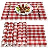 6 tovagliette rosse e bianche a quadri, in PVC, resistenti al calore, resistenti alle macchie, lavabili per cucina e sala da pranzo