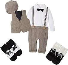 Baby Boys Little Gentleman Long Sleeve Bow Tie Romper Suit Vest Coat Berets Hat Suspenders Socks 6 Piece Set(BB02)