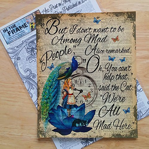 Home Decor Alice in Wonderland, Peacock Illustration, Art Print on Antique Dictionary Book Page Published in 1889, Unique Gift, Wall art steampunk buy now online