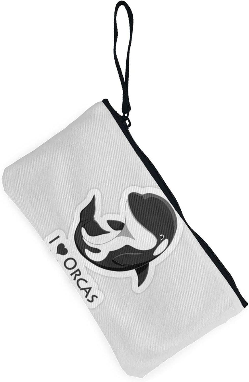 AORRUAM I love Killer Whales Orca Canvas Coin Purse,Canvas Zipper Pencil Cases,Canvas Change Purse Pouch Mini Wallet Coin Bag