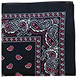 Pack of 12 Paisley 100% Cotton Bandanas Novelty Headwraps - Dozen Available in Many Colors - 22 inches (Black & Red)