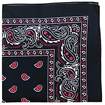 Paisley 100% Cotton Double Sided Bandana - 22 inches  Black and Red