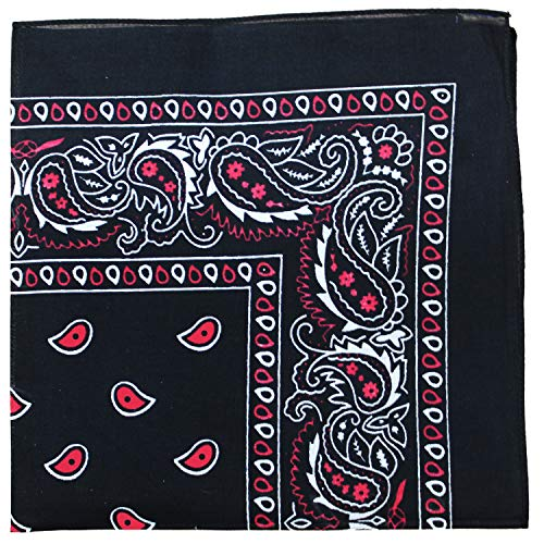 Mechaly Extra Large Unisex Paisley 100% Cotton Double Sided Bandanas - Pack of 2 (Black and Red)