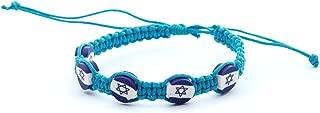 Sky Braided Bracelet Lucky Charm Jewelry Star of David Israel flag pendant by Body-Soul-n-Spirit Bracelet