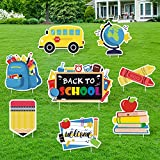 Huray Rayho Back to School Yard Signs with Stakes First Day of School Yard Decorations Classroom Cutouts Welcome Back Outdoor Lawn Decor Colorful School Yard Ornaments Party Supplies Set of 8