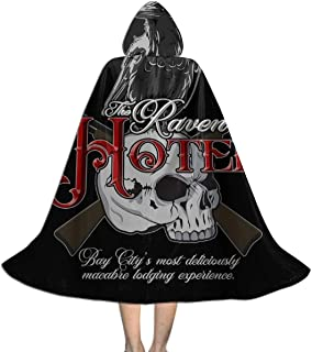 SEDSWQ The Raven Hotel Altered Carbon Unisex Kids Hooded Cloak Cape Halloween Xmas Party Decoration Role Cosplay Costumes