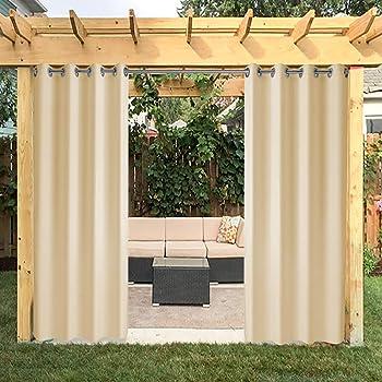 Cortina de sol, a rayas, con anillas, de 290 x 290 cm, para exteriores, de color marrón.: Amazon.es: Jardín