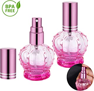 Perfume Atomizer Refillable, Empty Glass Spray Bottles, Fine Mist Spray, 2 Pack of 10ml (Pink)