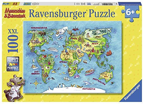 Ravensburger Kinderpuzzle 10595 - Mäuseschlau & Bärenstark Reise um die Welt 100 Teile XXL - Puzzle für Kinder ab 6 Jahren