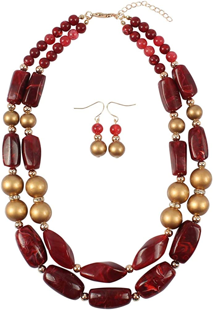 Thkmeet 2 Layer Statement Chunky Beaded Necklace Earrings Women Fashion African Jewelry Set