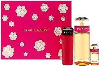 Prada Candy 3-Piece Gift Set for Women: 2.7 oz (80ml) Eau de Parfum Spray + 0.24 oz (7ml) Eau de Parfum Mini + 2.5 oz (75ml) Body Lotion