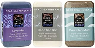 One With Nature Dead Sea Minerals Bar Soap 3 Fragrance Variety Bundle: (1) Dead Sea Lavender, (1) Dead Sea Salt, and (1) D...