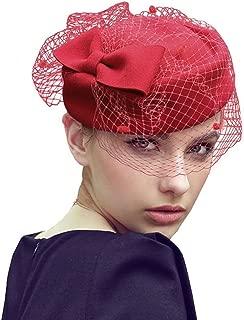 Fascigirl Fascinator Hats,Facigirl Vintage Pillow Hat Wedding Hat with Veil Kentucky Derby Hats
