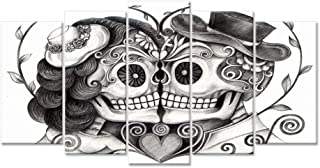 iHAPPYWALL Canvas Print Art Vintage Skull Head Couple Love with Flower in Eyes Human Skeleton Man and Woman Tattoo idea The Pictures Print On Canvas for Home Decor