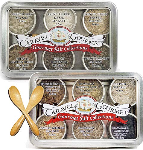 The Infused + French Two-Pack Sampler Set - 6 Resuable Tins with Bamboo Spoon - Two Gifts for Everyone - Delicious Infused, French & Natural Salts in Beautiful, Charming Gift Sets - by Caravel Gourmet