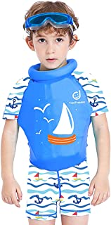 Kids Floatation Swimsuits One-Piece Swimsuits Life Jacket Boys Girls Buoyancy Swimwear for Children with Armbands