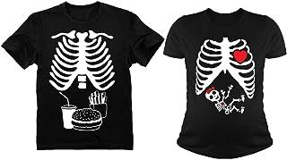 Halloween Skeleton Maternity Tee Baby Girl X-Ray Matching Couple Set Burger Tee