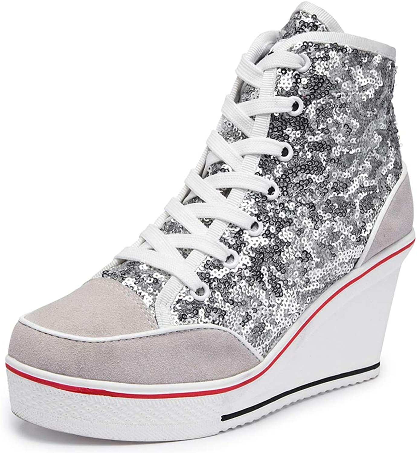 NOMIMAS Women Wedge Sneakers Lace-Up Spring Autumn High Heel Mixed colors Glitter Vulcanize Flock Platform Casual shoes
