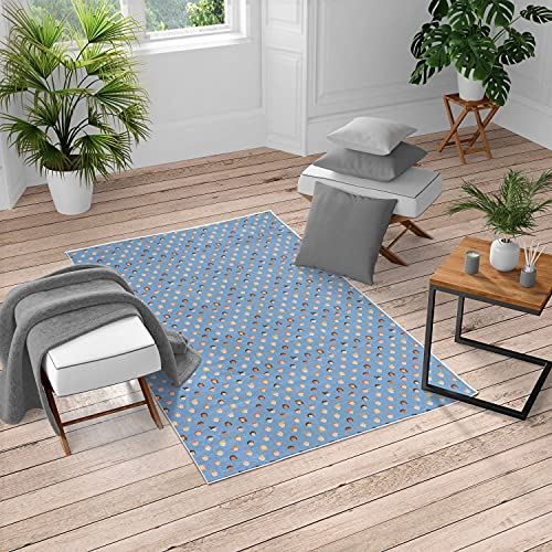 Ambesonne Cartoon Turkish Area Rug, Boys and Girls Faces Teenager Youth Portraits Multicultural Ethnicity, Soft Carpet for Living Room Decor with Distressed Look, 6.6' X 9.6', Sky Blue Orange Redwood