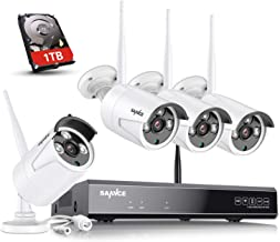 【Update Strong Signal Version】 Wireless Security Camera System with 1TB Hard Drive, SANNCE 8CH NVR 4Pcs 1080P 100FT Night Vision WiFi IP Security Surveillance Cameras Home,Outdoor, Easy Remote View
