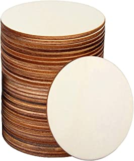 LINSHRY Unfinished Wood Circles, 36 Pcs 4 Inch Round Wood Slices Blank Wooden Cutouts for Coaster Decor, Painting, Writing...