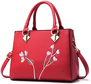 Women's embroidered handbag, embroidered shoulder bag, simple messenger bag, large capacity travel bag, polyester texture, multi-layer design, multi-color optional (Color : Red, Size : One size)